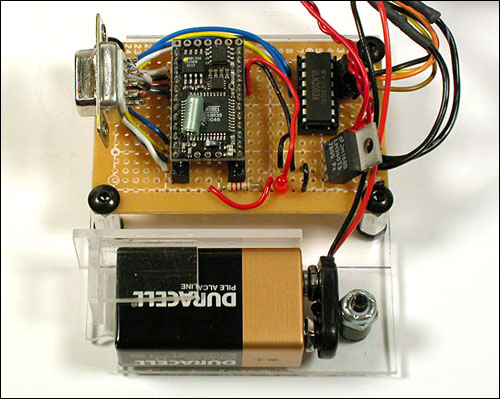 Figure 10 - Closeup of the circuitboard with BX-24 microcontroller...
