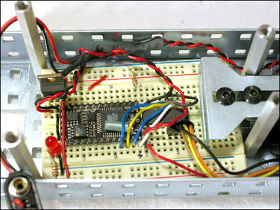 Figure 4 - Breadboard circuit using a ULN2004A and BX-24 microcontroller.